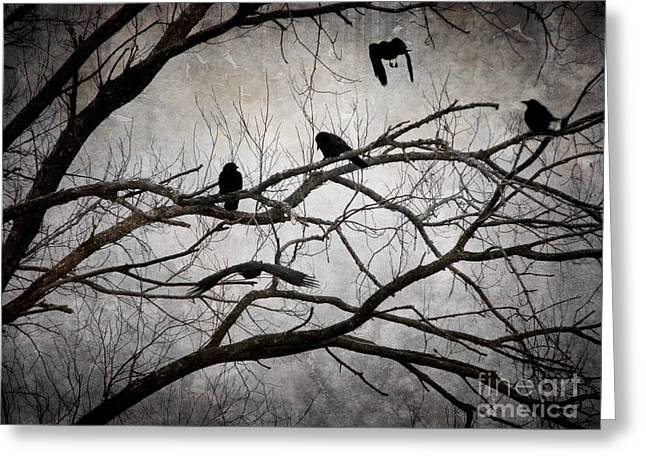 Crows At Midnight Greeting Card