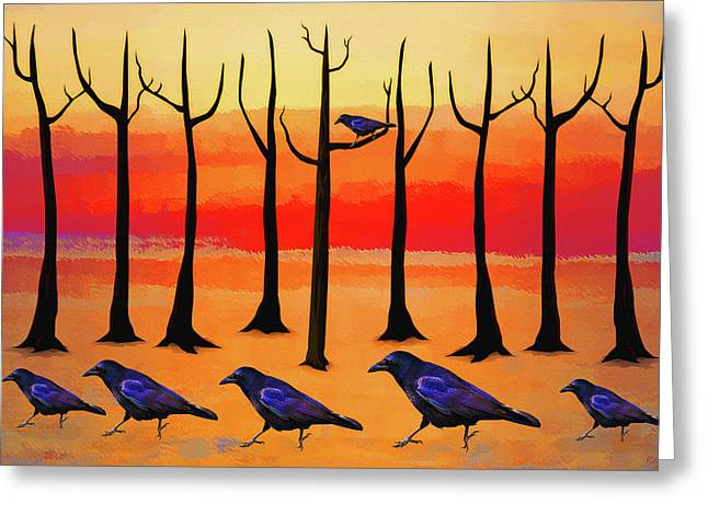 Crows On Parade Greeting Card