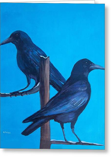 Crows On Tree Top Greeting Card