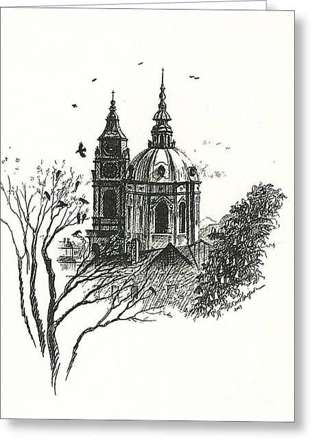 Crows Over Prague Greeting Card