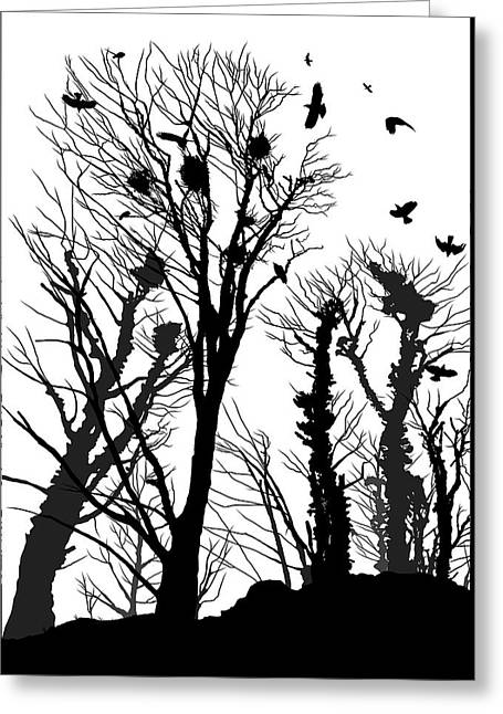 Crows Roost 1 - Black And White Greeting Card by Philip Openshaw
