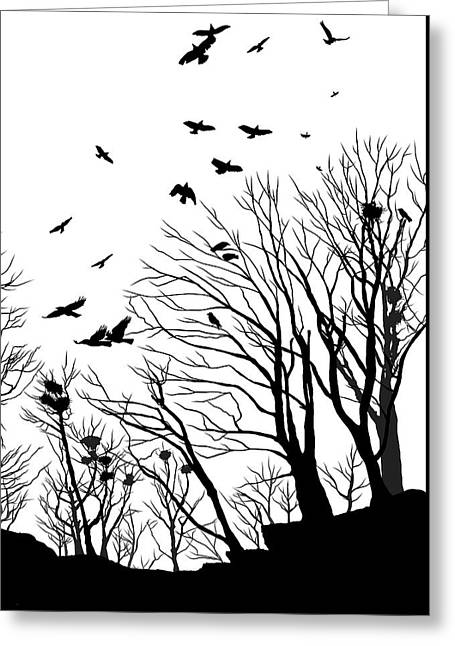 Crows Roost 2 - Black And White Greeting Card by Philip Openshaw