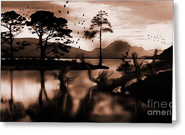 Crows Scenery  Greeting Card by Gull G