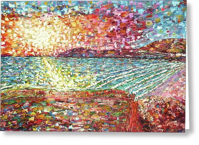 Croyde Bay Impressionist Style Greeting Card