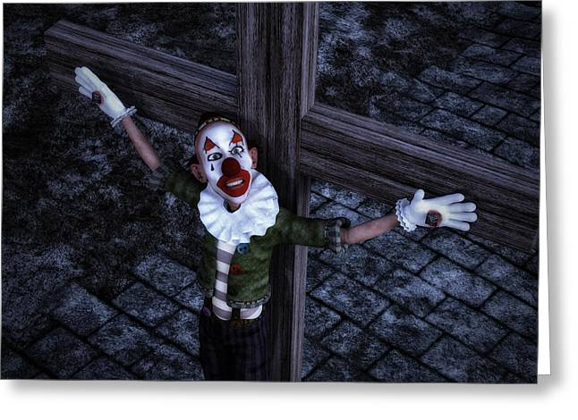 Crucified Clown Greeting Card