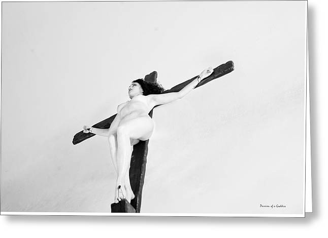 Crucified Woman In White Greeting Card by Ramon Martinez