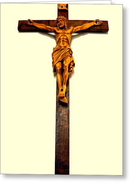 Crucifix Greeting Card by Henryk Gorecki