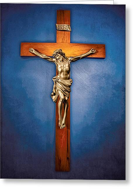 Crucifix On Blue Greeting Card by YoPedro