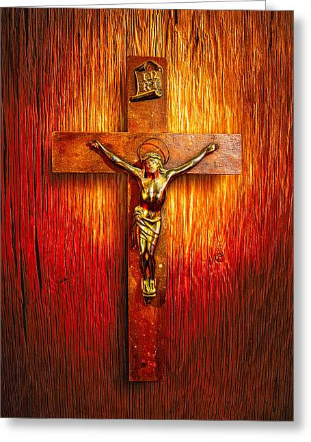 Crucifix On Wood Greeting Card