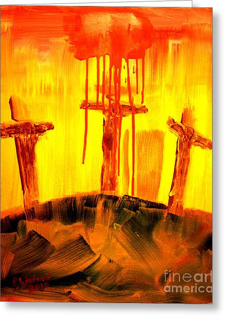 Greeting Card featuring the painting Crucifixion Green Hill Far Away by Richard W Linford