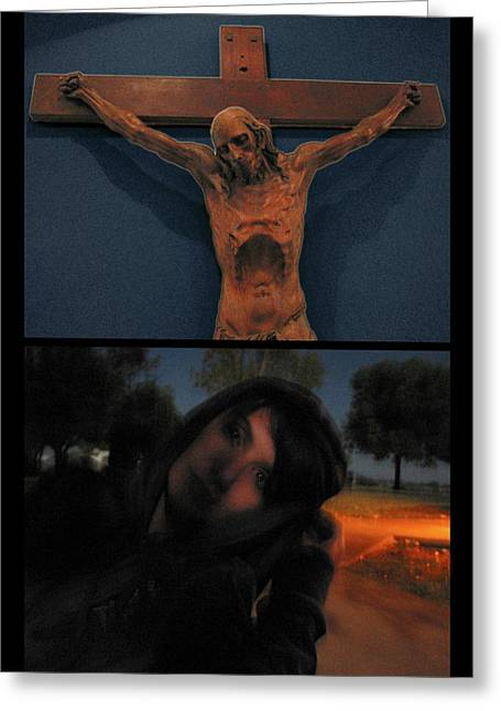 Crucifixion Greeting Card by James W Johnson