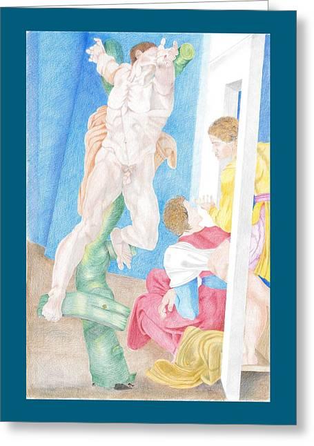 Crucifixion Of Haman Sistine Chapel Michelangelo Greeting Card by Bernardo Capicotto