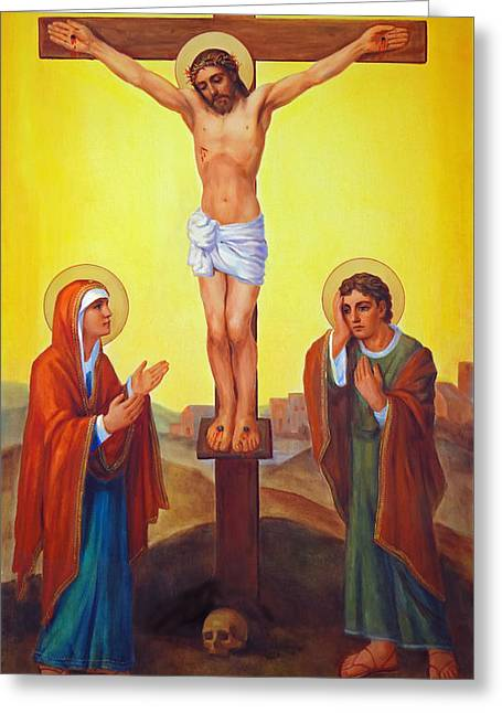 Crucifixion Of Jesus Christ - Golgotha  Greeting Card by Svitozar Nenyuk