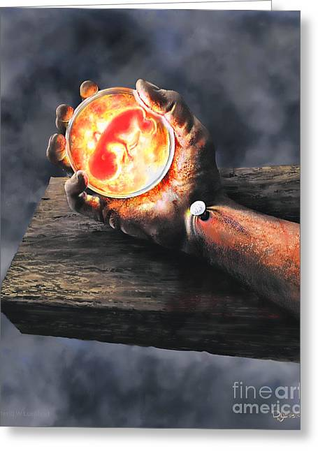 Greeting Card featuring the painting Crucifixion Version One Glen Concept by Dave Luebbert