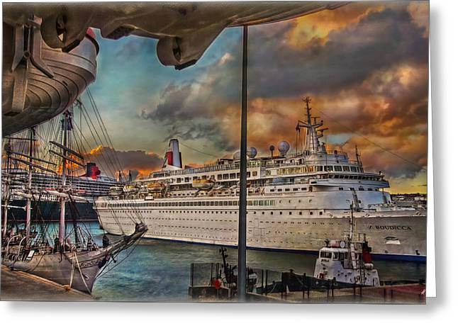Greeting Card featuring the photograph Cruise Port by Hanny Heim