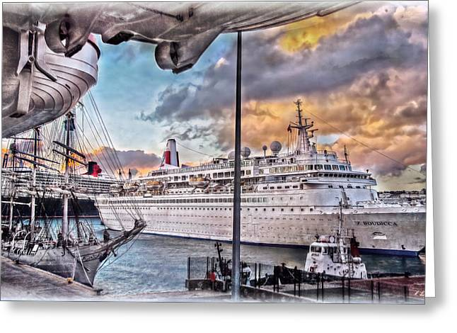 Greeting Card featuring the photograph Cruise Port - Light by Hanny Heim