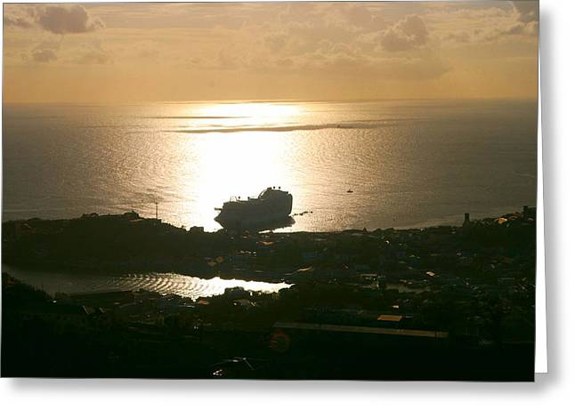 Greeting Card featuring the photograph Cruise Ship At Sunset by Gary Wonning