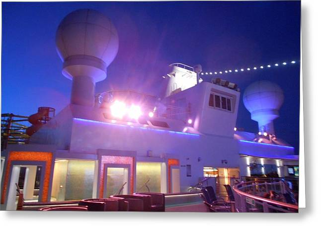 Cruise Ship Chic Outdoor Movie Projector Greeting Card by Carolyn Quinn
