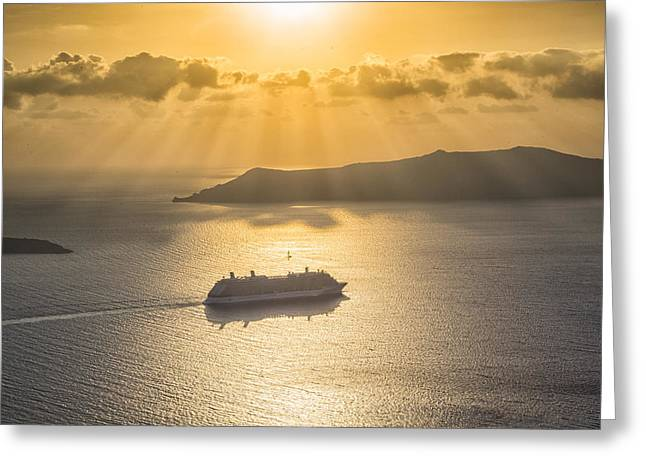 Greeting Card featuring the tapestry - textile Cruise Ship In Greece by Kathy Adams Clark