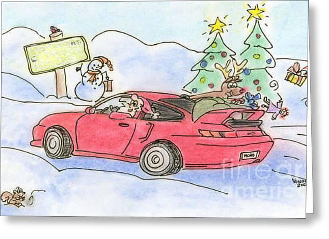Cruisin' Santa Greeting Card by Vonda Lawson-Rosa