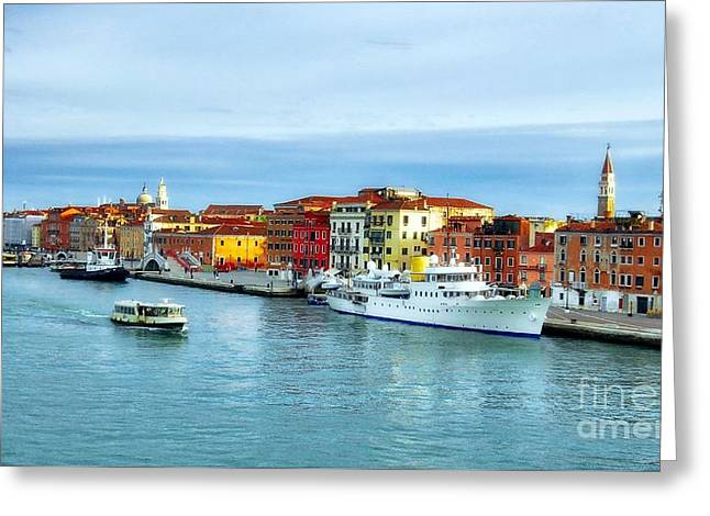 Greeting Card featuring the photograph Cruising Into Venice # 2 by Mel Steinhauer