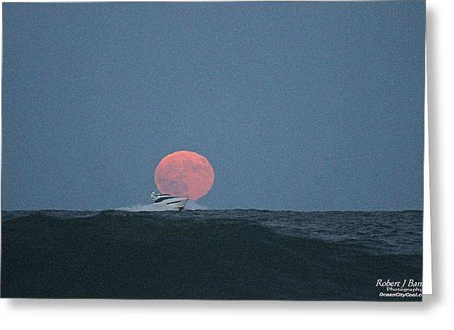 Cruising On A Wave During Harvest Moon Greeting Card