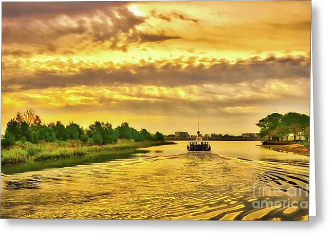Cruising Out Of Murrells Inlet Greeting Card by Mel Steinhauer