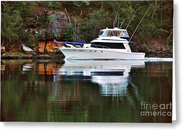 Cruising The River By Kaye Menner Greeting Card