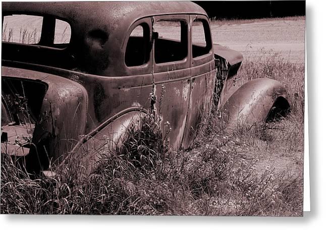 Greeting Card featuring the photograph Crumbling Car by Kae Cheatham