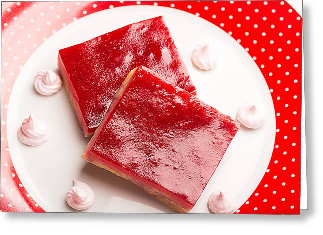Crumbly Cake With Jam Prepared From Cranberry Greeting Card