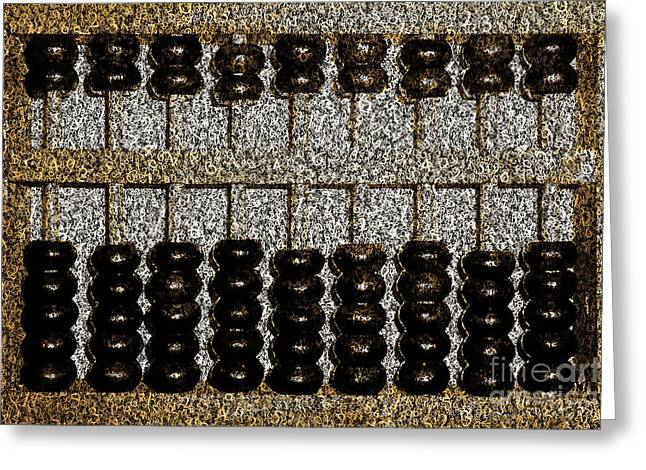 Greeting Card featuring the photograph Crunching Numbers On An Ancient Chinese Abacus 20161115sepia by Wingsdomain Art and Photography