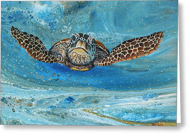 Greeting Card featuring the painting Crush The Honu by Darice Machel McGuire