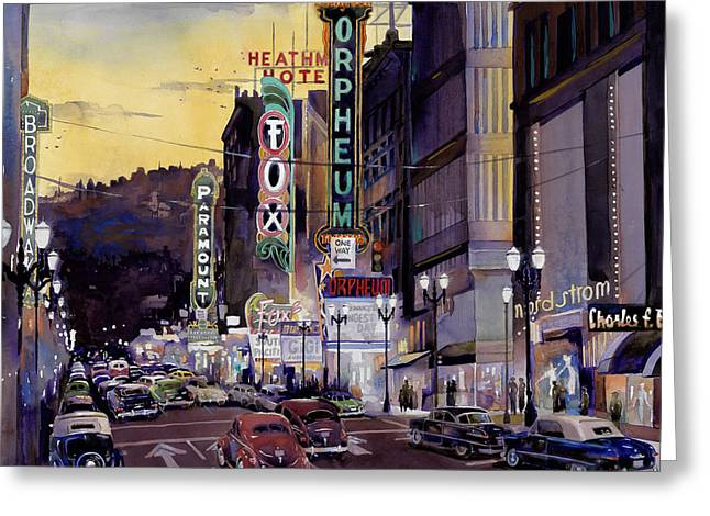 Portland Oregon Greeting Cards - Crusin Broadway in the Fifties Greeting Card by Mike Hill