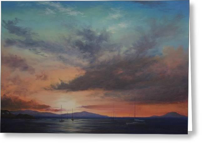 Cruz Bay Sunset By Alan Zawacki Greeting Card