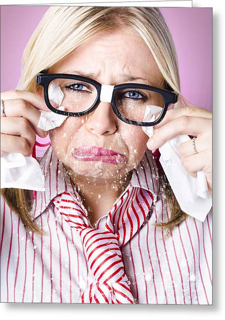 Cry Baby Businesswoman Crying A Waterfall Of Tears Greeting Card