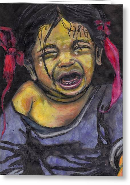 Cry Baby Cry Greeting Card by Jean Haynes