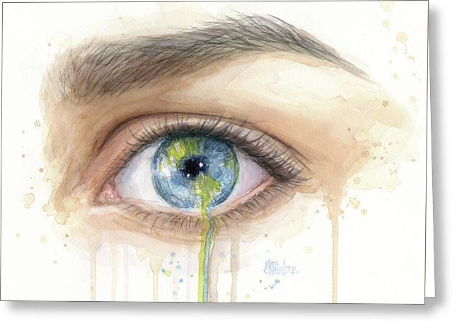 Crying Earth Eye Greeting Card