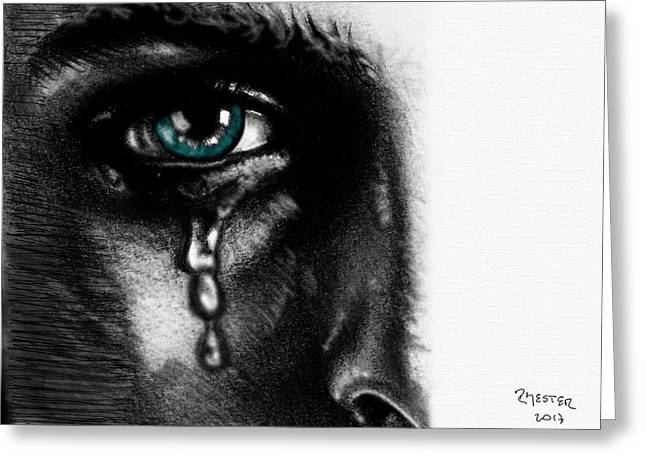 Crying Face Greeting Card by Ricardo Mester