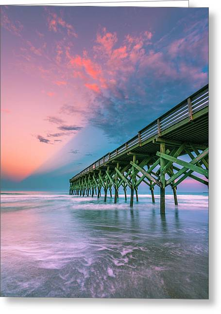 Greeting Card featuring the photograph Crystal Beach Pier Sunset In North Carolina by Ranjay Mitra