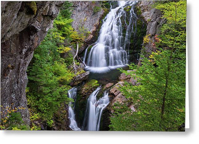 Crystal Cascade Autumn Square Greeting Card by Bill Wakeley