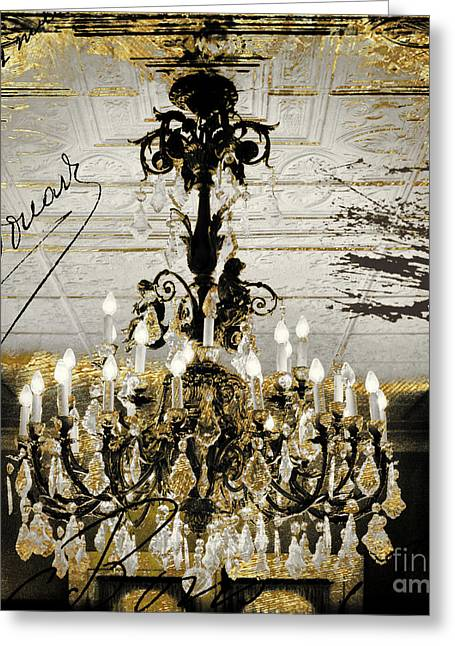 Crystal Chandelier Gold And Silver Greeting Card by Mindy Sommers