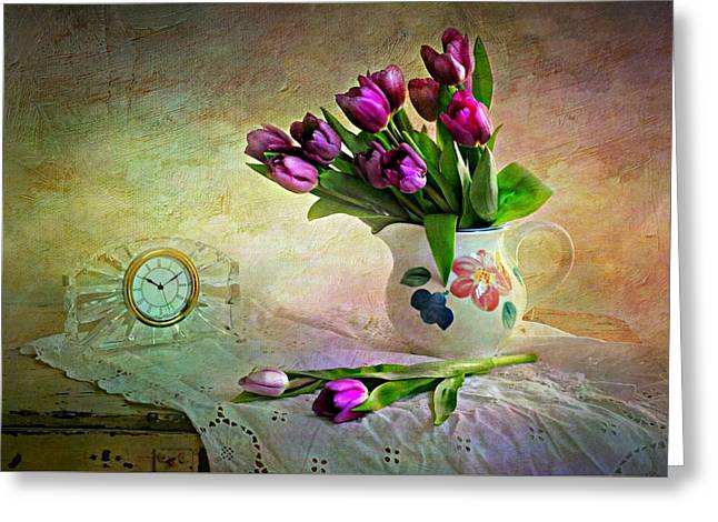 Crystal Clock With Tulips Greeting Card
