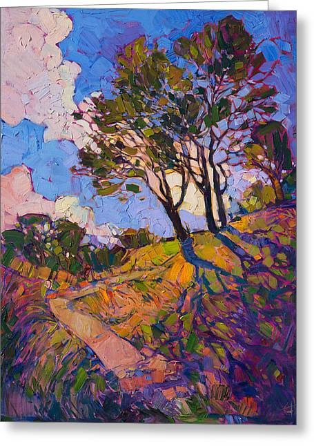 Greeting Card featuring the painting Crystal Clouds by Erin Hanson