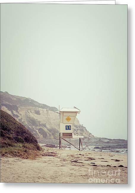 Crystal Cove Lifeguard Tower #11 Retro Picture Greeting Card by Paul Velgos