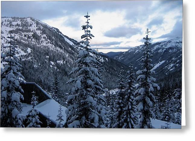 Crystal Mountain Dawn Greeting Card by Lorraine Devon Wilke