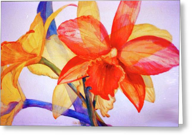 Crystal Orchids Greeting Card by Estela Robles
