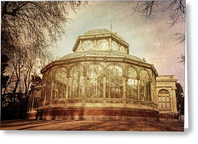 Crystal Palace Madrid Textured Greeting Card by Joan Carroll