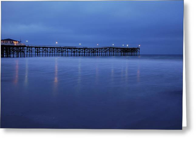 Crystal Pier Blue Greeting Card by Kelly Wade