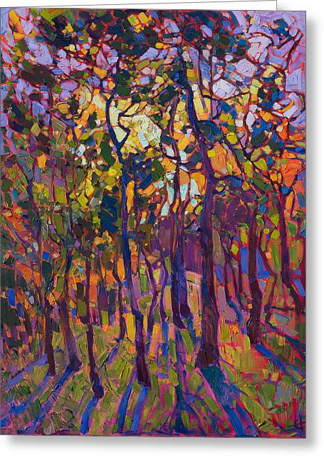 Greeting Card featuring the painting Crystal Pines by Erin Hanson
