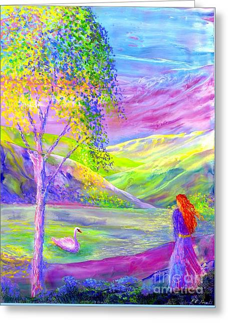Greeting Card featuring the painting Crystal Pond, Silver Birch Tree And Swan by Jane Small